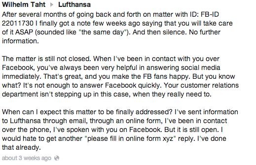 Lufthansa fails in Facebook