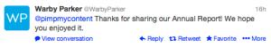 Warby Parker Tweet